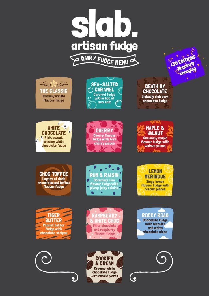 Slab Artisan Fudge - Dairy Flavour Menu
