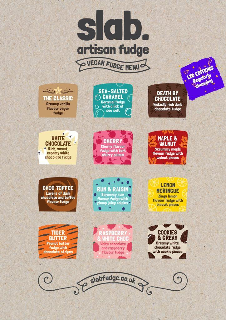 Slab Artisan Fudge - Vegan Flavour Menu